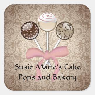 Elegant Cocoa Damask Cake Pop Square Sticker Label
