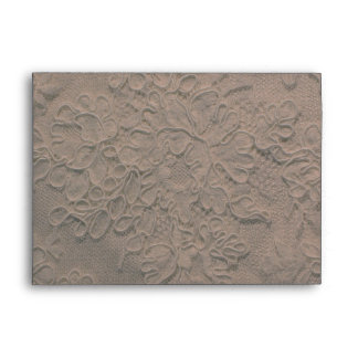 Elegant Coffee Lace Wedding Envelope