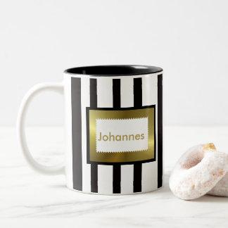 ELEGANT COFFEE MUG, BLACK WHITE STRIPES COFFEE MUG