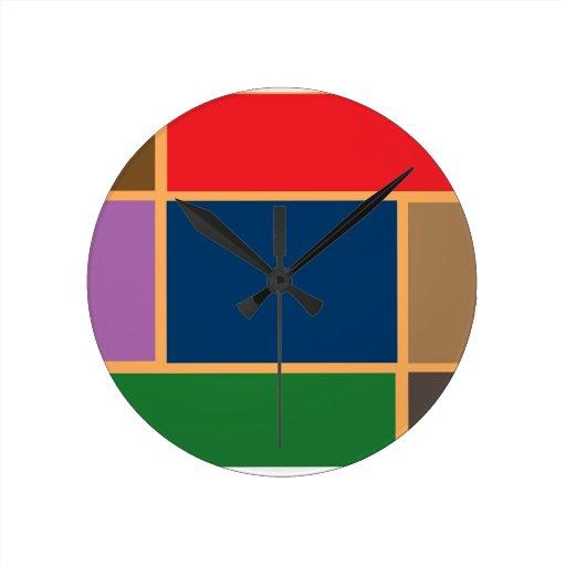 Elegant Color Collage n Gold line Border Round Wallclock