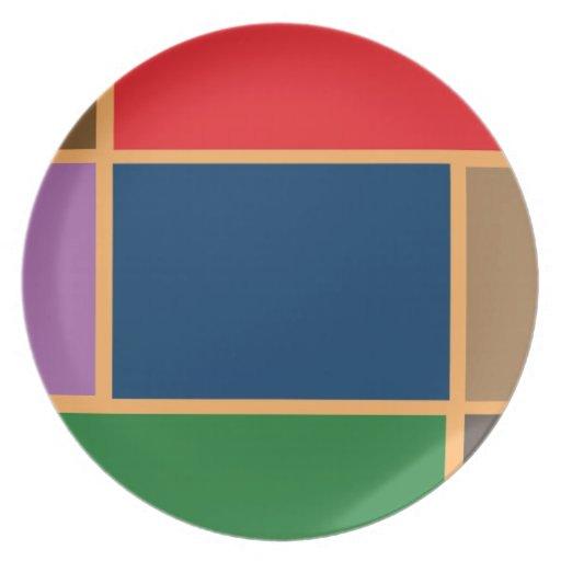 Elegant Color Collage n Gold line Border Party Plates