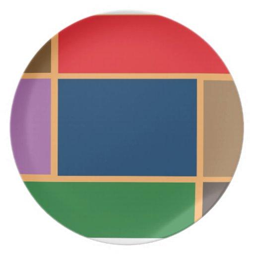 Elegant Color Collage n Gold line Border Party Plate