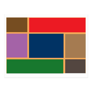 Elegant Color Collage n Gold line Border Post Card