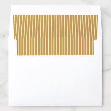 Elegant color editable mustard yellow stripes envelope liner