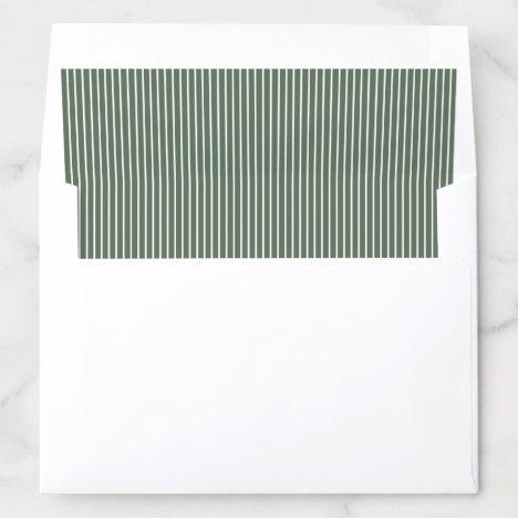 Elegant color editable olive green stripes envelope liner