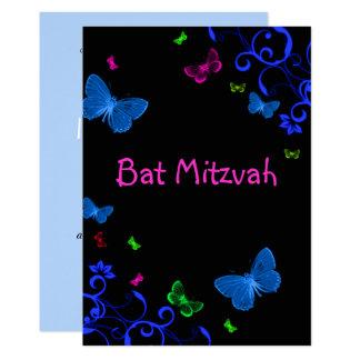 Elegant Colorful Butterflies, Custom Bat Mitzvah Card