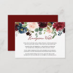 """Elegant Colorful Floral Delight Honeymoon Wish  Enclosure Card<br><div class=""""desc"""">This elegant colorful floral delight honeymoon wish enclosure card is perfect for a simple wedding. The design features hand-painted pink,  blush,  burgundy,  red,  maroon and blue roses and peonies with green foliage neatly assembled into a charming bouquet.</div>"""