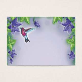 elegant colorful hummingbird and purple flowers business card