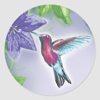 elegant colorful hummingbird and purple flowers classic round sticker