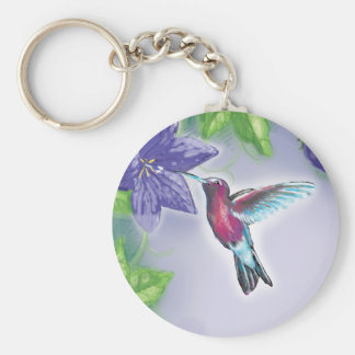 elegant colorful hummingbird and purple flowers basic round button keychain