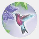 elegant colorful hummingbird and purple flowers round sticker