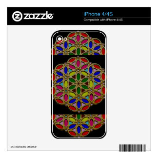 Elegant Colorful Jewel Necklace Pendent design fun Skins For The iPhone 4