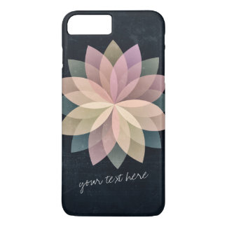 Elegant Colorful Lotus Floral Mandala Black Grunge iPhone 7 Plus Case