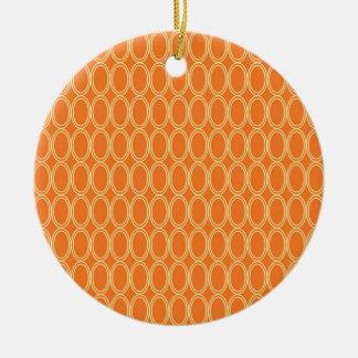 Elegant Colorful Orange and Cream Oval Pattern Ceramic Ornament