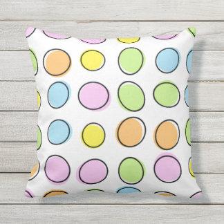 Elegant Colorful Pastel Retro Ovals Pattern Throw Pillow