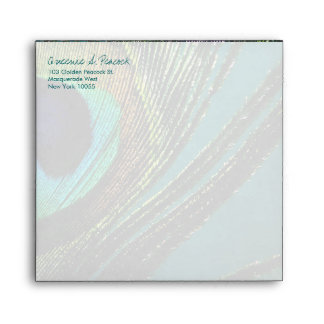 Elegant Colorful Peacock Feather Photo Envelope