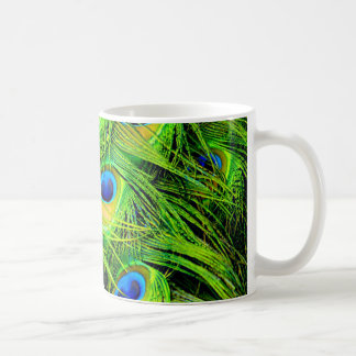 Elegant Colorful Peacock Feathers Custom Coffee Mug