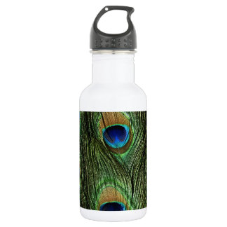 Elegant Colorful Peacock Feathers Custom Photo Des 18oz Water Bottle