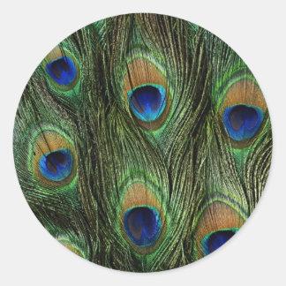 Elegant Colorful Peacock Feathers Custom Photo Des Classic Round Sticker