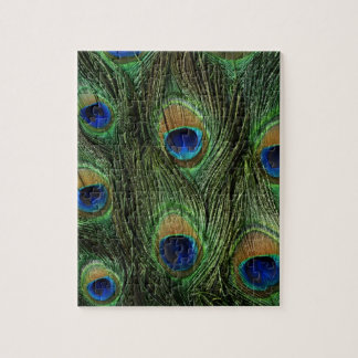Elegant Colorful Peacock Feathers Custom Photo Jigsaw Puzzle