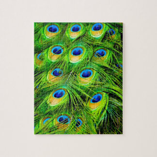 Elegant Colorful Peacock Feathers Custom Puzzle