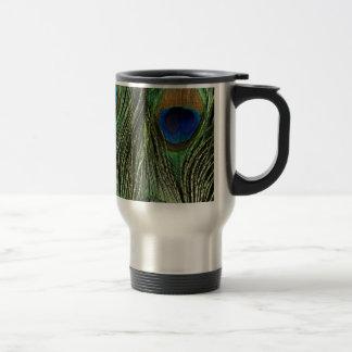 Elegant Colorful Peacock Feathers Custom Travel Mug