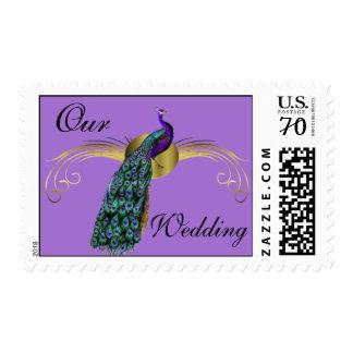 Elegant Colorful Peacock Wedding Postage Stamp