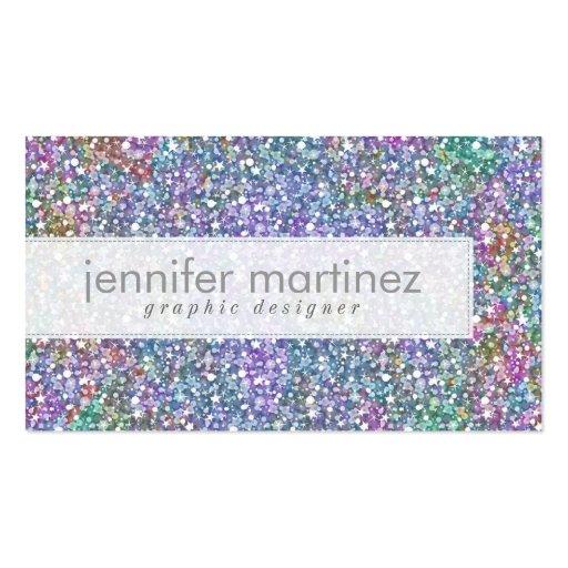 Elegant Colorful Purple Tint Glitter & Sparkles Business Card Templates