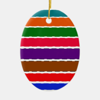 Elegant Colorful Rainbow Slices Pattern Ceramic Ornament