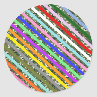 Elegant Colorful Stripe Camouflage Pattern Classic Round Sticker