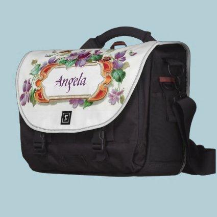 Elegant Colorful Vintage Violet Calling Card Bag Laptop Commuter Bag