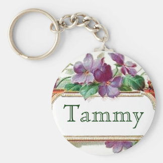 Elegant Colorful Vintage Violet Name Keychain