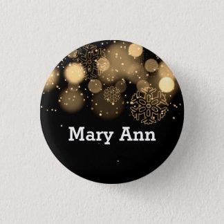 Elegant Company Christmas Name Tag Gold Pinback Button