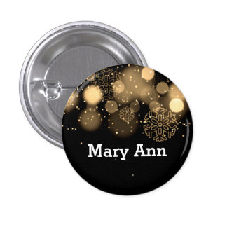 Elegant Company Christmas Name Tag Gold Pinback Button