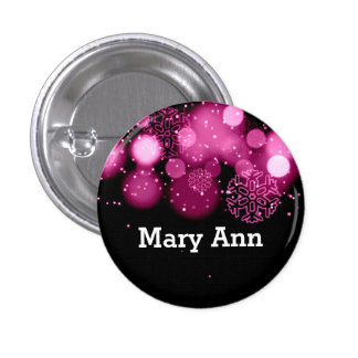 Elegant Company Christmas Name Tag Pink 1 Inch Round Button