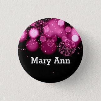 Elegant Company Christmas Name Tag Pink Pinback Button
