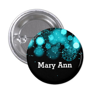 Elegant Company Christmas Name Tag Turquoise 1 Inch Round Button