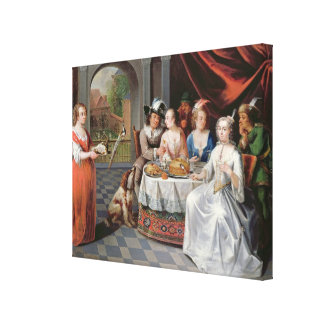Elegant company dining in an pillared hall (panel) stretched canvas print