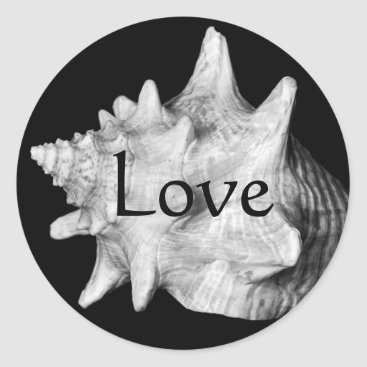 Beach Themed Elegant Conch Shell Beach LOVE Black and White Classic Round Sticker
