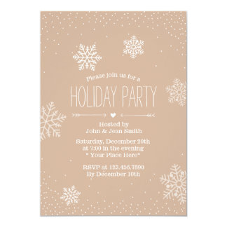 Elegant Confetti Dots & Snowflakes Holiday Party Announcement Cards