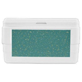 Elegant Confetti Space - Teal Green & Gold,Silver Chest Cooler