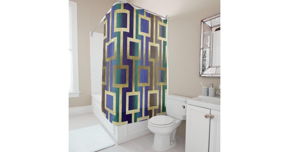 Elegant Contemporary Gold Blue Green Tan Purple Shower Curtain - Purple and gold shower curtain