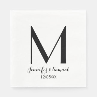 Elegant & Contemporary Monogram & Date Napkin