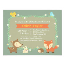 Elegant Contemporary Woodland Animal Baby Shower Card