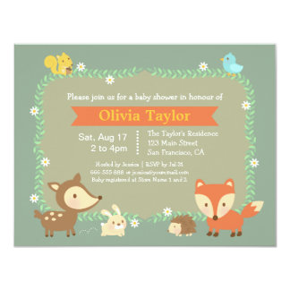 Elegant Contemporary Woodland Animal Baby Shower Card