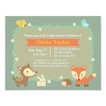 Elegant Contemporary Woodland Animal Baby Shower Invitation