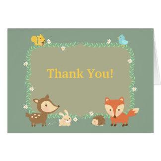 Elegant Contemporary Woodland Animal Thank You Card