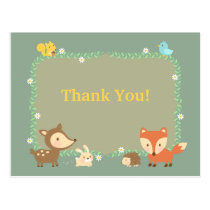 Elegant Contemporary Woodland Animal Thank You Postcard