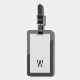 Elegant Cool Grey Geometric Monogram Luggage Tag