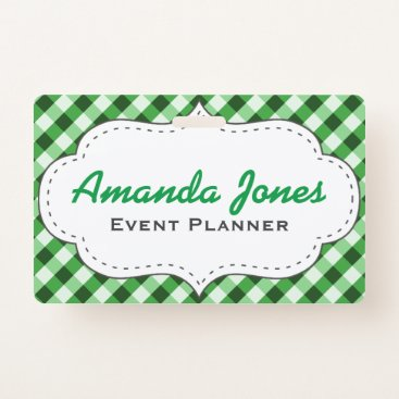 Professional Business Elegant Cool Modern Green Customized Event Planner Badge
